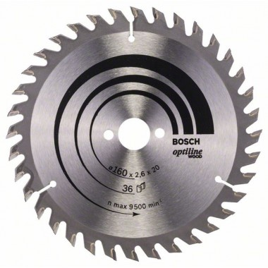 Пильный диск Optiline Wood 160 x 20/16 x 2,6 mm, 36 Bosch 2608640597