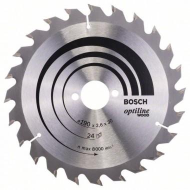 Пильный диск Optiline Wood 190x30x2,6 мм, 24 Bosch 2608640615