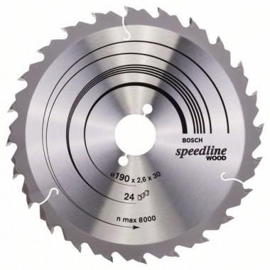 Пильный диск Speedline Wood 190 x 30 x 2,6 mm, 24 Bosch 2608640801