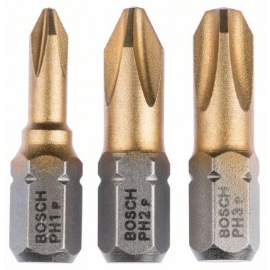 Набор из 3 насадок-бит Max Grip (PH) PH1; PH2; PH3; 25 мм Bosch 2607001754