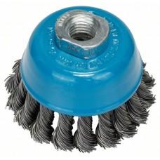 Круглая щетка для угловых и прямых шлифмашин - витая проволока, латунированная, 75 мм, 0,5 мм, 12500 об/мин Bosch 2609256503