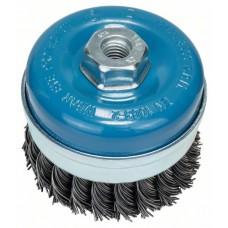 Круглая щетка для угловых и прямых шлифмашин - витая проволока, латунированная, 90 мм, 0,8 мм, 8500 об/мин Bosch 2609256506