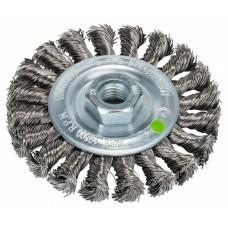 Кольцевая щетка для угловых и прямых шлифмашин - пучки витой проволоки, нержавеющая, 100 мм, 0,5 мм, 12500 об/мин Bosch 2609256509