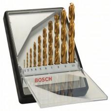 Набор из 10 сверл по металлу Robust Line HSS-TiN, 135° (1-10 мм) Bosch 2607010536