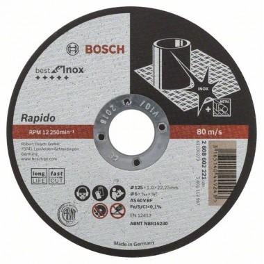 Отрезной круг прямой Best for Inox - Rapido Long Life A 60 W BF 41 125x22,23x1,0 мм Bosch 2608602221