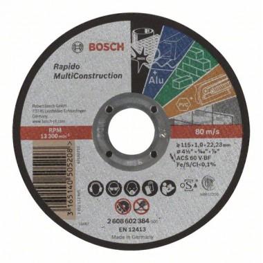 Отрезной круг прямой Rapido Multi Construction ACS 60 V BF 115x1,0 мм Bosch 2608602384