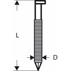Гвозди с D-образной головкой SN34DK 50R, в обойме 2,8 мм, 50 мм, без покр., рифл. Bosch 2608200014