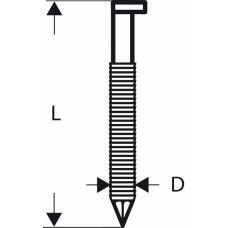 Гвозди с D-образной головкой SN34DK 65RG, в обойме 2,8 мм, 65 мм, оцинк., рифл. Bosch 2608200020