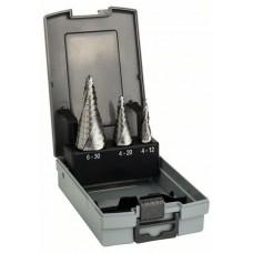 Набор из 3 ступенчатых сверл HSS 4-12; 4-20; 6-30 мм Bosch 2608587426