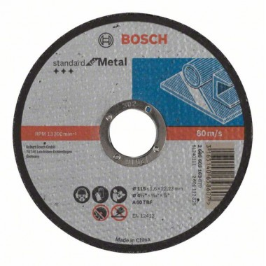 Отрезной диск прямой Standard for Metal A 60 T BF 115x22,23x1,6 мм Bosch 2608603163